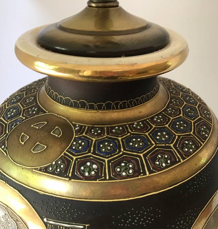 Mid-Century Modern Japanese Satsuma Urn Vessel Table Lamp For Sale 1