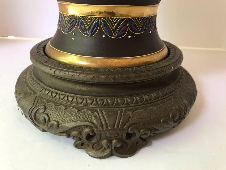 Mid-Century Modern Japanese Satsuma Urn Vessel Table Lamp For Sale 2