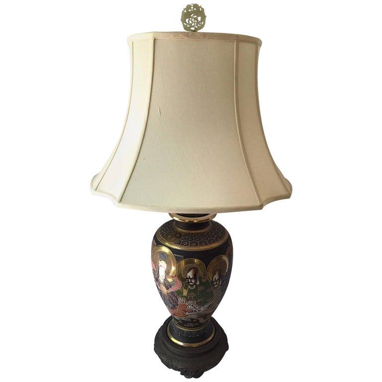 Mid-Century Modern Japanese Satsuma Urn Vessel Table Lamp For Sale