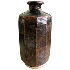 Mid-Century Modern Japanese Style Ten-Sided Tenmoku Glazed Stoneware Studio Vase