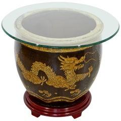 Mid-Century Modern Jardinière Ceramic Side End Table Vessel Planter Dragons