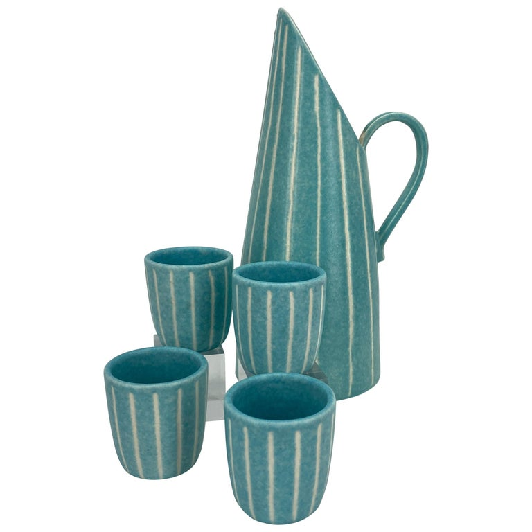 Mid-Century Modern Jaru of California Pitcher and Beaker/Cup Set For Sale