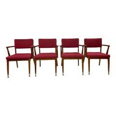 Mid-Century Modern Jasper Chair Co Walnut Arm Chair's, Set of 4