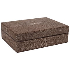 Mid Century Modern Java & Cream Shagreen Box with Coffee Suede Lined Interior