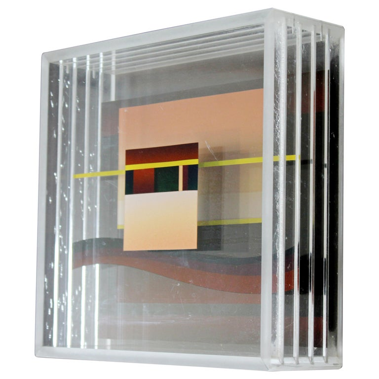 Mid-Century Modern Jean Claude Farhi Lucite Acrylic Box Sculpture, 1960s, French For Sale