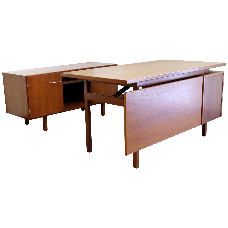 Mid-Century Modern Jens Risom Executive Desk & Credenza, 1960s
