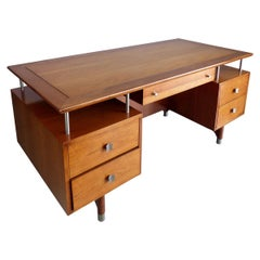 Jens Risom Mid-Century Modern  Executive Desk in Solid Cherry and Chrome