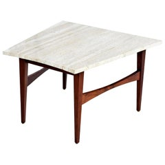 Mid-Century Modern Jens Risom Style Wedge Travertine and Walnut Side Table
