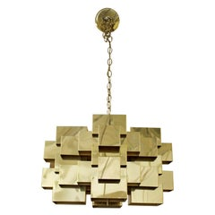 Mid-Century Modern Jere Signed Cubist Brass Pendant Fixture Chandelier, 1970s