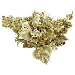 Mid-Century Modern Jere Style Brutalist Brass Leaves Wall Sculpture Stephen Vat