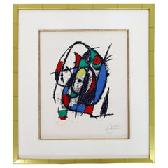 Mid-Century Modern Joan Miro Framed Pencil Signed Lithograph in Colors 53/80