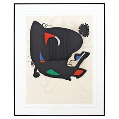 Mid-Century Modern Joan Miro Framed Signed Abstract Lithograph 1970s Red 42/150
