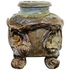 Mid-Century Modern John Glick Signed Handmade Pottery Ceramic Footed Vase 1960s