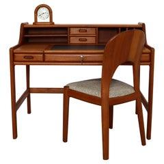 Mid Century Modern John Mortensen Dyrlund Solid Teak Desk Chair Clock Denmark