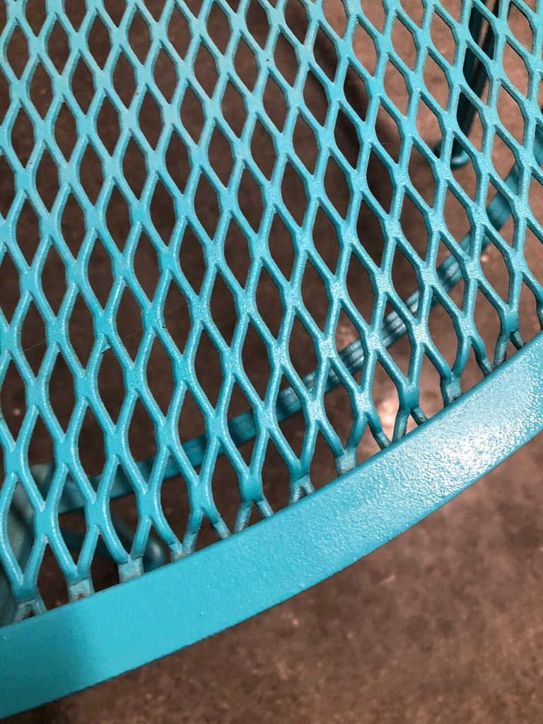 John Salterini Newly Refinished in Lagoon Blue Wrought Iron Patio Cocktail Table For Sale 4