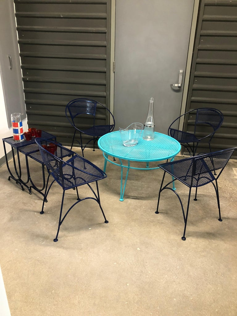 John Salterini Newly Refinished in Lagoon Blue Wrought Iron Patio Cocktail Table For Sale 5