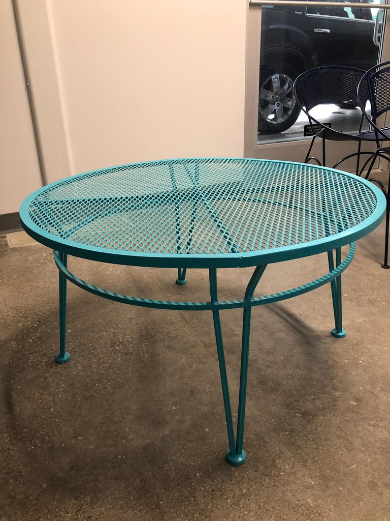 Offered is a Mid-Century Modern John Salterini patio cocktail table newly painted / refinished wrought iron in