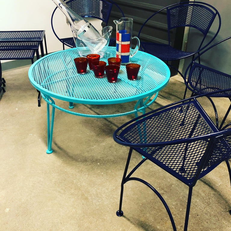 Mid-Century Modern John Salterini Newly Refinished in Lagoon Blue Wrought Iron Patio Cocktail Table For Sale