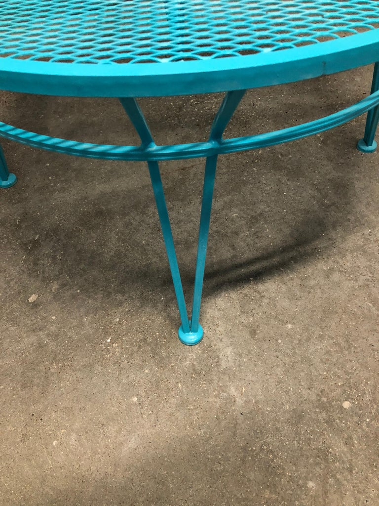John Salterini Newly Refinished in Lagoon Blue Wrought Iron Patio Cocktail Table In Good Condition For Sale In Houston, TX