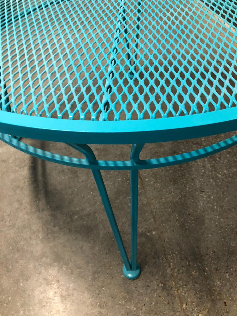 20th Century John Salterini Newly Refinished in Lagoon Blue Wrought Iron Patio Cocktail Table For Sale