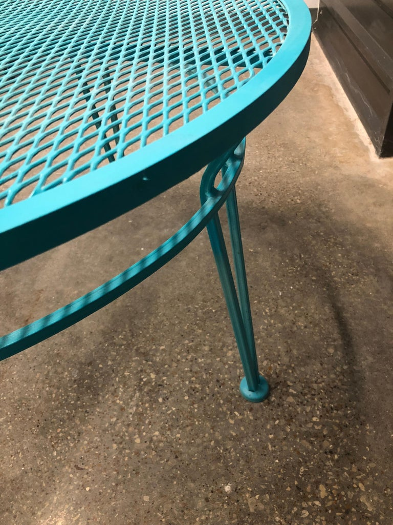 John Salterini Newly Refinished in Lagoon Blue Wrought Iron Patio Cocktail Table For Sale 1