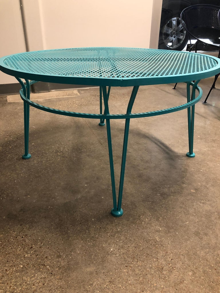 John Salterini Newly Refinished in Lagoon Blue Wrought Iron Patio Cocktail Table For Sale 2