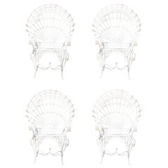 Mid-Century Modern John Salterini White Peacock Chairs Set of Four