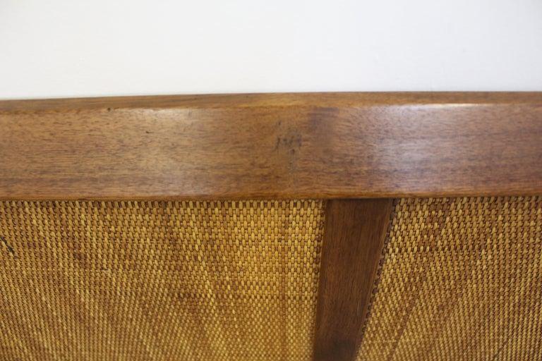 20th Century Mid-Century Modern John Stuart Style Walnut Caned King Size Headboard For Sale