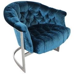 Mid-Century Modern John Stuart Tufted Crushed Velvet Chrome Lounge Chair