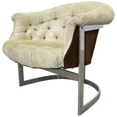 Mid-Century Modern John Stuart Tufted Steel Base Lounge Chair