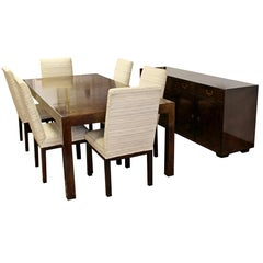 Mid-Century Modern John Widdicomb Burlwood Dining Table Chairs Credenza, 1950s