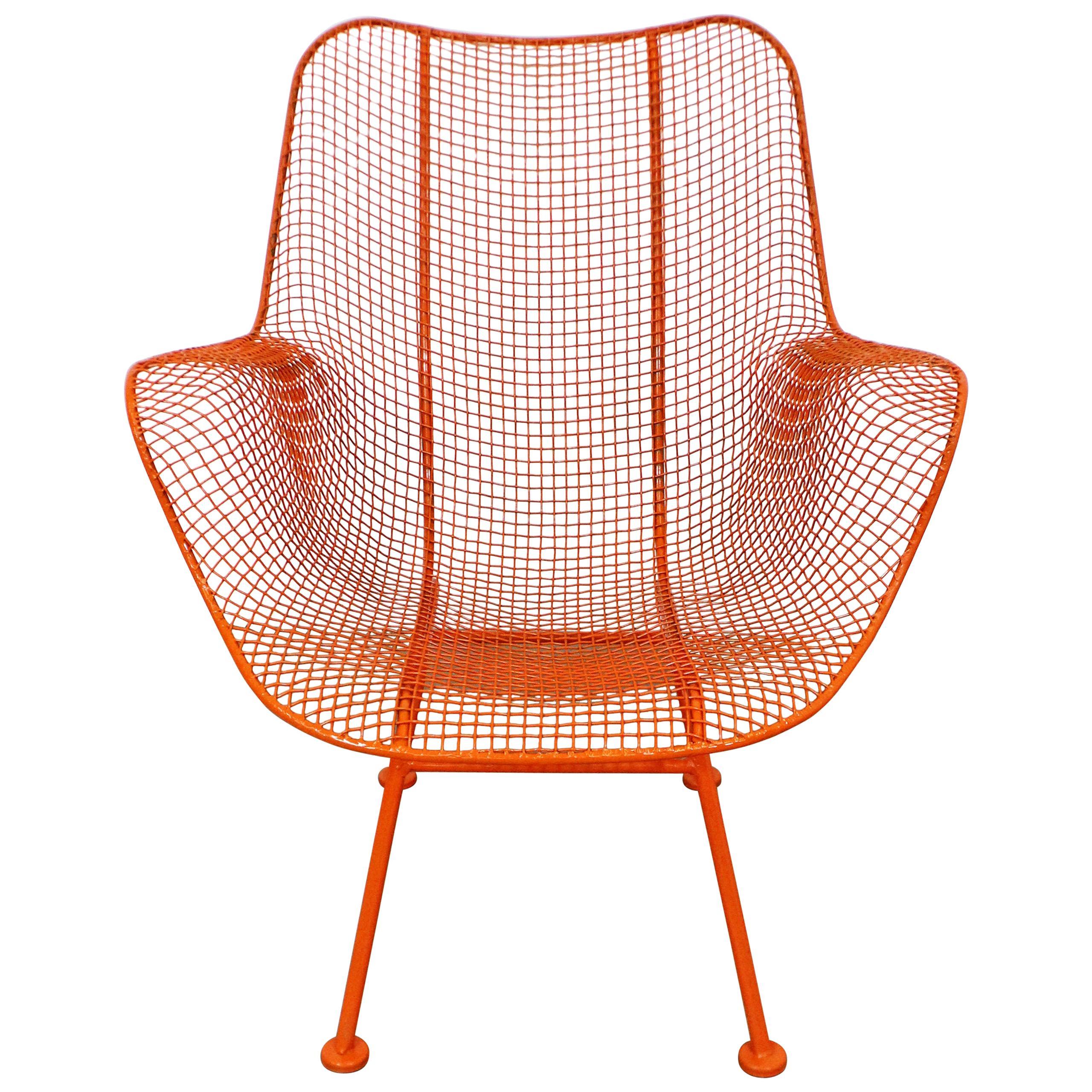 Mid-Century Modern John Woodard Sculptura Outdoor Wrought Iron Lounge Chair