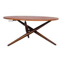 Mid-Century Modern Jurg Bally Adjustable Wooden Table