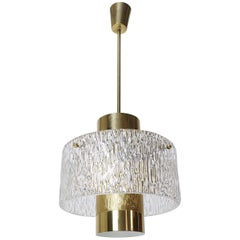 Mid-Century Modern Kalmar Brass Tube and Textured Glass Pendant, Austria, 1960s