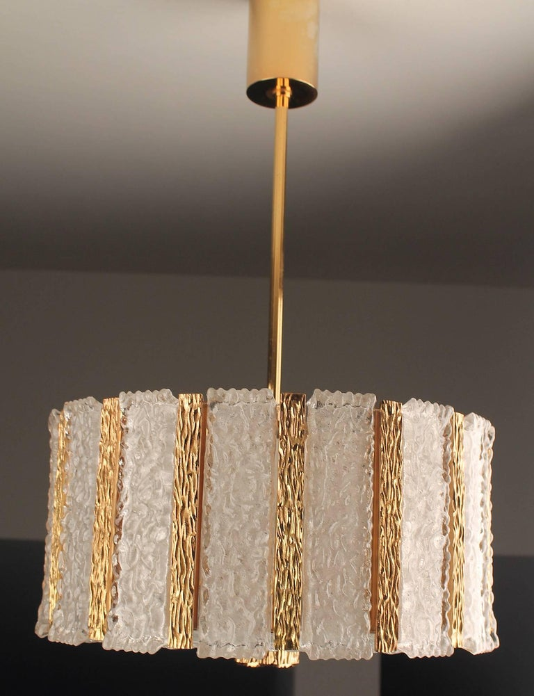 Kalmar  Bronze Murano Glass Chandelier Pendant Light, Gio Ponti Era For Sale 6