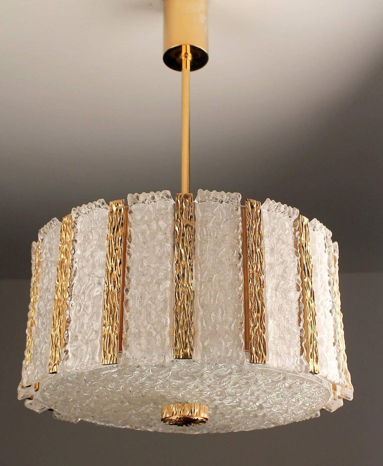 Kalmar  Bronze Murano Glass Chandelier Pendant Light, Gio Ponti Era For Sale 7