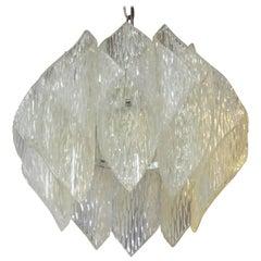 Mid-Century Modern Kalmar Style Pendant In Folded Acrylic