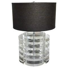 Mid-Century Modern Karl Springer Stacked Disc Lucite Table Lamp, 1970s
