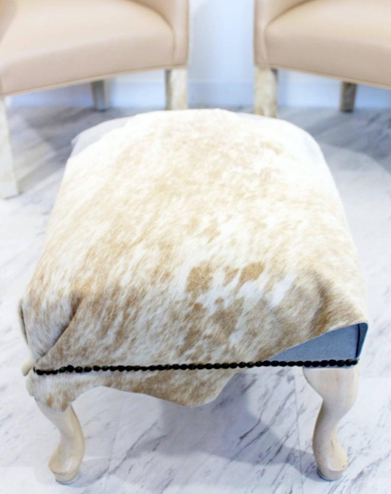 American Midcentury Modern  Animal Hide Pair Club Armchairs Ottoman For Sale