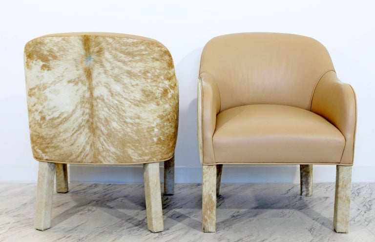 Late 20th Century Midcentury Modern  Animal Hide Pair Club Armchairs Ottoman For Sale