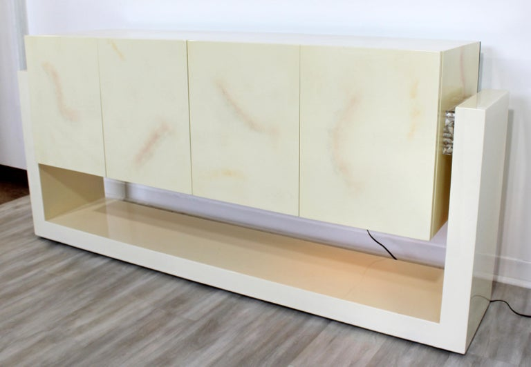 American Mid-Century Modern Karl Springer Style Lucite & Lacquer Sideboard Credenza 1970s For Sale