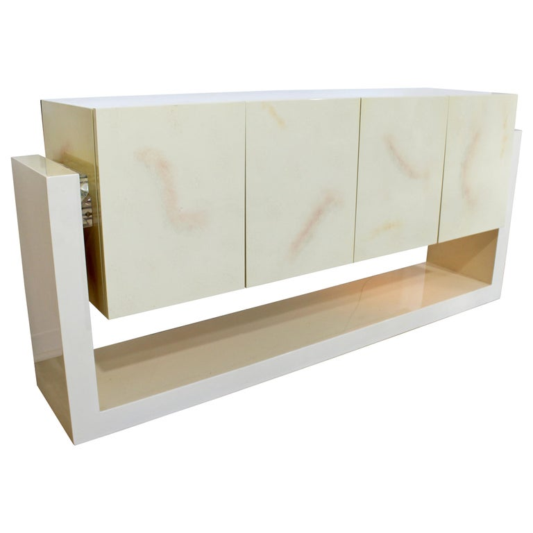 Mid-Century Modern Karl Springer Style Lucite & Lacquer Sideboard Credenza 1970s For Sale