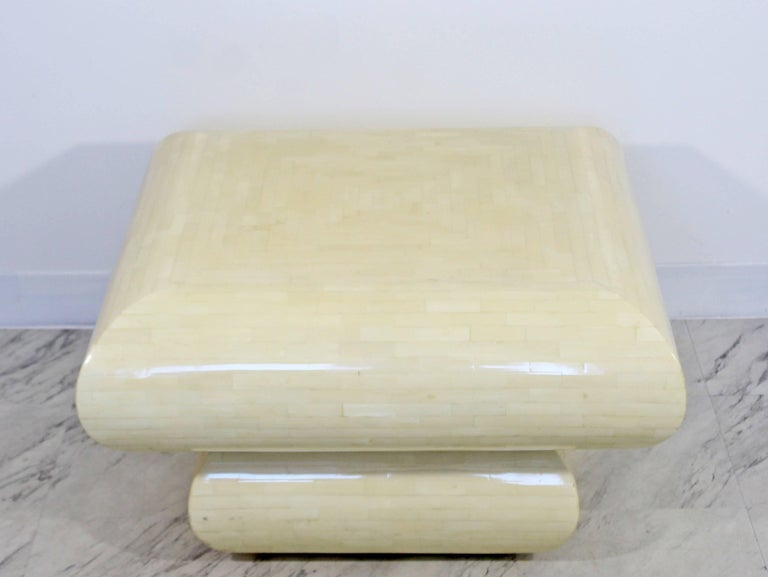 American Mid-Century Modern Karl Springer Style Tessellated Square Coffee Table, 1970s