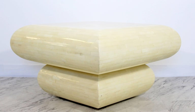 Mid-Century Modern Karl Springer Style Tessellated Square Coffee Table, 1970s In Good Condition In Keego Harbor, MI