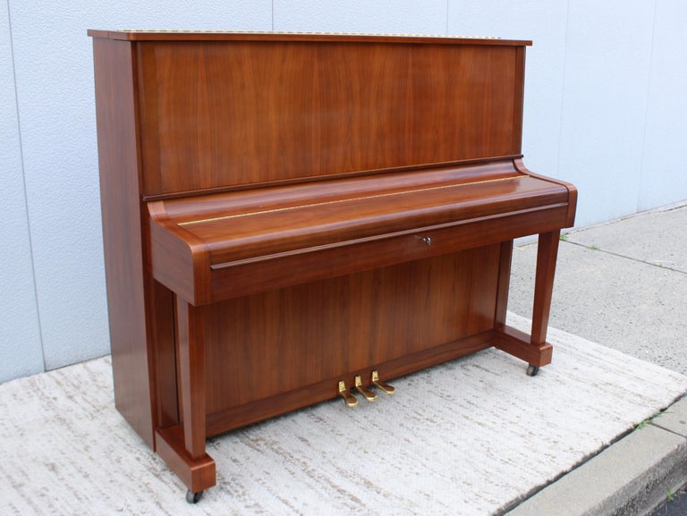Brass Mid-Century Modern Kawai Upright Piano For Sale