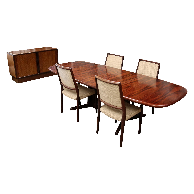Mid-Century Modern Kibaek Mobelfabrik Danish Rosewood Credenza Dining Set 1960s