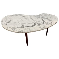 Mid-Century Modern Kidney Shape Marble Top Coffee Cocktail Table