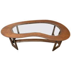 Mid-Century Modern Kidney Shaped Walnut and Glass Coffee Cocktail Table