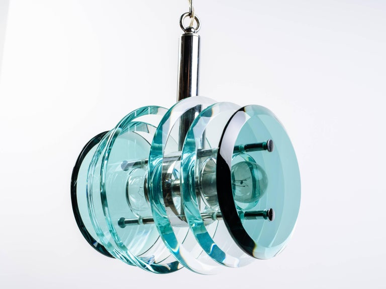 Mid-Century Modern Kinetic Green Glass Pendant Chandelier, Italy C. 1960s For Sale 3