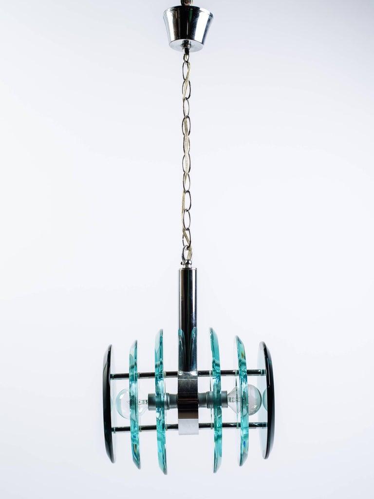 Beveled Mid-Century Modern Kinetic Green Glass Pendant Chandelier, Italy C. 1960s For Sale
